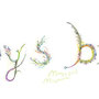 "title letters. I draw this image as if sprites of ""Baby's breath"" make these words by magical plants."
