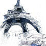 Eiffel Tower with Maybach Car, pencil and watercolor, 2011, (unpublished)