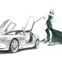 2000/2011 Kate Moss and Mercedes-Benz SLR McLaren, pencil, watercolor, Art Direction: Le Han Nguyen, Editor: Daphna Ute Wildemann, ecd international