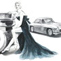 1950/60 Marilyn Monroe and Mercedes-Benz Uhlenhaut Coupé, pencil, watercolor, Art Direction: Le Han Nguyen, Editor: Daphna Ute Wildemann, ecd international