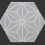 SOUTHERN TILES Zementfliese, Hexagon_Starburst_grau, 20x23 cm