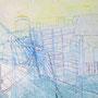 Ereignis zwischen Gehäusen, Acryl, Kreide auf Leinwand, 100 x 120 cm