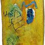 Vom Geschenk zum Original, Acryl, Kreide auf DDR-Papier, 60 x 30cm