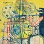 Gestirne-Maschine (f.L.d.V.), Acryl, Kreide, Collage auf Holz