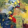 Würzmittel Farbe, Collage, Acryl, Kreide auf SZ, 67 x 50 cm