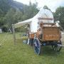 Arrivée trail Mijoux - Chuck Wagon - Auvent - Décor Les Chemins de Traverse