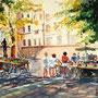 """Jean Pierre Balas   """"Marche de valauris"""",  aquarelle  40 x 50"""