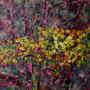 """Pascale HUARD    """" Sous bois 2"""" Collage papier sur tissu marouflé s/toile  65 x 92"""