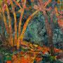 """Pascale HUARD    """" Sous bois"""" Collage papier sur tissu marouflé s/toile   30 x 30"""