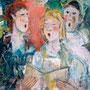 """Catherine Demoulin   """"Trois chanteurs  701""""   acrylique sur panneau  42x42"""
