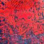 """Marie France Gesbaud  """"Pianetta rosso""""   peinture à la cire   44x50"""