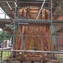 Abbund der Turmkonstruktion durch Zimmerei Gadow+Rose (© Foto: Wieck & Partner)