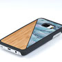 Samsung Galaxy s7 case bamboo wood and blue nacre above