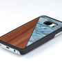 Samsung Galaxy s7 edge case walnut wood and blue nacre above