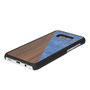 Samsung Galaxy s8 Plus case walnut wood and blue nacre above