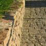 Detail Pflaster und Mauer