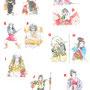 歌舞伎 水彩画 挿絵 役者 手描き