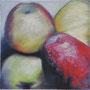 Äpfel 2 30 x 30 Pastell auf Papier 2011 LS006