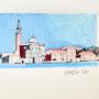 Venedig San Giorgio 21 x 21 Tusche Aquarell a.Papier 2015 Z229
