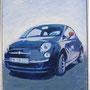Fiat 500 neu 80x100 Acryl auf Leinwand 2013-07 A030