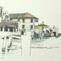 Gardasee 2012 6 24x24 Tusche Aquarell auf Papier 2014 Z190