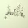 Ravensburg 2 24x24 Tusche Aquarell auf Papier 2014 Z178