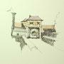 Rothenburg o.T. 2 24x24 Tusche Aquarell auf Papier 2014 Z181