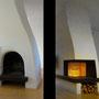 Umbau Kaminofen  mit rahmenlosem Eckglas - vorher/nachher (mit Ofenbau Thurner)