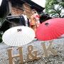 イニシャルブロックと番傘を使って和装イメージフォト