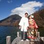 中禅寺湖の桟橋で