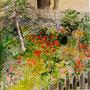 Garten im Engadin, Aquarell, 52x52, inkl. Rahmen