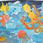 Unter Wasser, Klasse 5, Collage, Zeichnungen