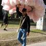Zuckerwattenverkäufer im Park