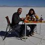 Frühstück mitten auf dem Salzsee