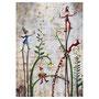 """Peinture acrylique-encre-collage : """"Les bâtisseurs d'espoir"""". Présenté à l'exposition INterfaces à Chambéry en mai 2018."""