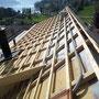 Bauphase: Neuer Unterdachaufbau mit Konterlatten und Zielgellatten