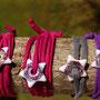 ruban de jersey recyclé fuschia foncé et gris foncé (atelier)