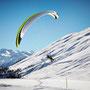 Paraglider landing at Belalp