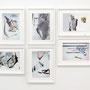 """""""studio fallout"""" 1 – 6, Photo, Papier, Öl auf Papier, je 30 x 40 cm gerahmt, 2015"""