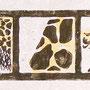 Giraffe, Holzschnitt, Öl auf Chinapapier