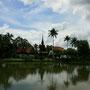 die historische stadt sukhothai kündigt sich mit den ersten chedi's an