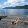erfrischendes bad im ossiacher see, österreich