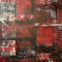 'Red Abstract H', 36x48, Janet L. Hamilton,oil, latex, wax, spray paint, paper, plastic on canvas