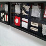 "Variable Piece #5 in Red, Black and White, 17x32, Lauren ""Ike"" Iacoponi, fabric with paint washes, framed"