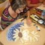 projet: table de mosaïque, trois tournesols de Françoise