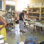 atelier de mosaïque à Fumel, salle céramique, stage adhérents juillet 2012