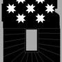 Etude graphique, palier 2° étage, dessins étoiles et escalier du 1° au 2° palier