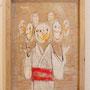 7枚の仮面 W24.2×H33.3cm アクリルガッシュ,クレヨン,色鉛筆,パネル
