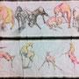 偶蹄   半紙,シャーペン,水彩絵の具