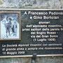 targa commemorativa alla base della parete del Sojo Rosso